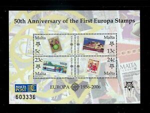 Malta - Europa Stamps 50th Anniversary Souvenir Sheet MNH