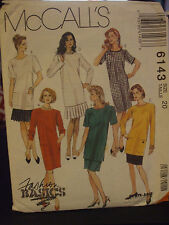 McCall's 6143 Misses One & Two-Piece Dresses Pattern - Size 20
