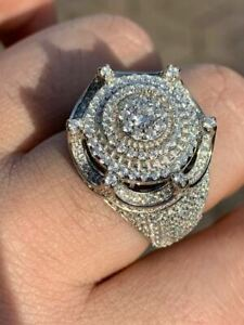 Men's Large Solid 925 Silver 5ct King Crown Diamond Pinky RING HIP-HOP Bust Down