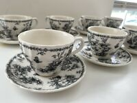 14 PC Set of 7 Vintage Churchill Toille Black Charcoal Scalloped Cup & Saucer