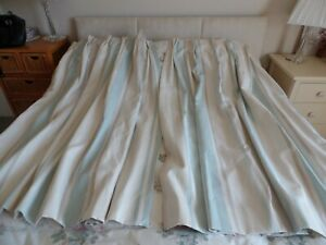 MTM LAURA ASHLEY AWNING STRIPED CURTAINS DUCK EGG TAUPE BEIGE LINEN MIX