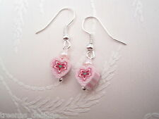 CUTE CANDY STRIPE PINK WHITE HEART FLOWER SP Drop Earrings PEARL BEAD Gift Bag
