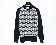 ONLY 1 MADE- J.W ANDERSON Black White Sequin Chevron Stripe Sweater Jumper Top S