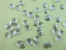 1000Pcs fashion Silver plated Metal Snowflake flower Spacer beads Caps 6mm