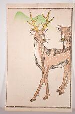 Gravure sur bois japonaise fin XIX°-déb XX°, Cerf, animaux