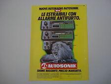 advertising Pubblicità 1986 AUTORADIO AUTOSONIC ASK 051/041/031