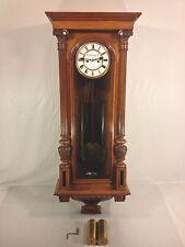 Antique W Schonberger Wien Vienna Regulator Clock Runs Strikes Great Wood Case