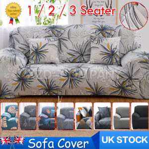 1 2 3 Seater Stretch Sofa Cover Couch Elastic Xmas Floral Slipcover Protector UK
