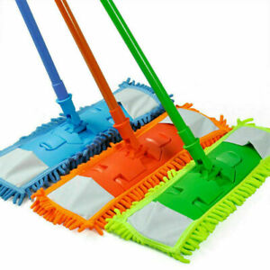 Extendable Microfiber Flat Mop Cleaner Sweeper Wet & Dry Floor Dust Cleaning