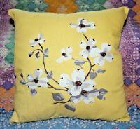 Vintage Wilendur Yellow Dogwood Mid Century Farmhouse Tablecloth Throw Pillow