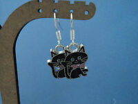 """PAIR GIRLS LOVELY BLACK SPARKLY CAT CHARM DROP EARRINGS!""""FREE POST IN OZ"""""""