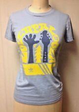 Women size S Adidas Lollapalooza 2010 T-Shirt Tee Top Baby Blue Yellow Cotton