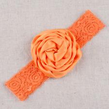 Baby Girl Wide Lace Turban Headband Head Wrap Hair Band With Rose Flower Orange