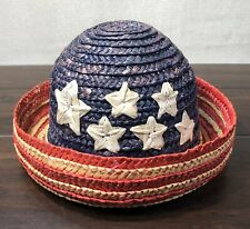 Vintage Rustic Faded Patriotic Childs Straw Bowler Hat Decor Woven Stars Stripes