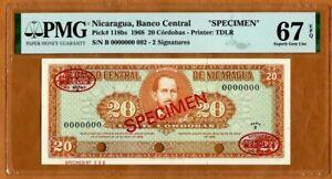 Specimen Nicaragua, 20 cordobas, 1968, P-118bs, PMG-67, EPQ Superb Gem UNC