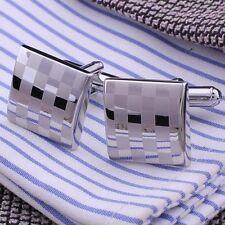 Mens Cufflinks Stainless Steel Business Shirt Silver Square Lattice Wedding