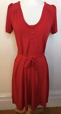 LEONA EDMISTON Red Stretch Short Sleeve Round Neck Button Front Tea Dress 1