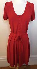 LEONA EDMISTON Red Stretch Short Sleeve Round Neck Button Front Tea Dress 1