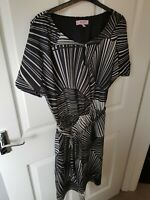 Marks and Spencer 12 Long  Per Una dress black and white with belt