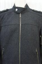 INC International Concepts Men's Jacket Sz XXL Grey Military Full Zip Wool Coat