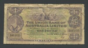 NEW ZEALAND £1 1923 Union Bank of Australia Krause s372  about VG Banknotes