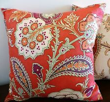 Red paisley print suede look cushion cover