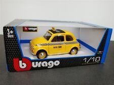 BBURAGO FIAT 500 NYC N Y C TAXI DIE CAST 1/18 YEL NEW