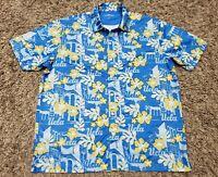 Vansport UCLA Floral Blue Yellow Hawaiian Shirt Men Size Medium Button Aloha