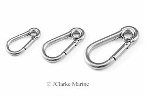 5mm 6mm 7mm Eyelet Carbine carabiner with eye snap spring hook A4 316 stainless