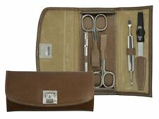 PFEILRING GERMAN 5 PIECES NICKEL PLATED MANICURE SET in COWHIDE LEATHER CASE