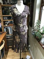 SIZE 14 CC DRESS 46% SILK FLOATY CHIFFON BROWN OLD GOLD MIDI APPEARS TOP & SKIRT