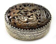 Vintage Shard Box Tibetan Silver Treasure Jewelry Mirror Brown Jade Lily Pond