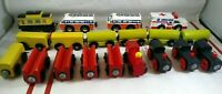 Huge Lot of 19 Wooden Magnetic Railway Trains Cars Carts Railroad Toy Locomotive