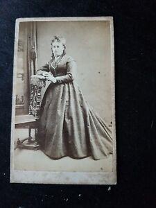 PRETTY VICTORIAN LADY IN LONG CRINOLIN DRESS. KINGSTON MADE CDV PHOTO