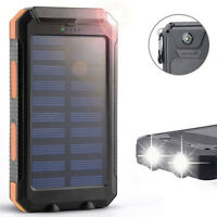 Solar Led 500000Mah Power Bank Charger Case Waterproof Dual Usb+No Bat TDO