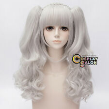 Anime Silver White Women Girls Lolita Party Cosplay Wig+2 Long Curly Ponytails