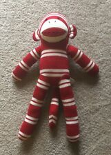 "Dan Dee Collectors Choice Red &  White Striped 17""  Sock Monkey Plush"