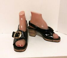 Vintage Shoes Black Patent Leather Chunky Cork Heels Italy Marrantino Fashion
