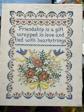 Vintage Sampler Cross Stitch Needlepoint Friendship is a gift on Board 16x20