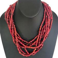"""Vintage Spiny Lobster & Red Glass Bead 8 Strand Necklace, Gold Clasp, 20"""" Long"""