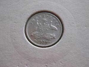 1927  threepence coin -  brilliant coin