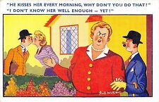 POSTCARD  COMIC   He  kisses her every  morning.....