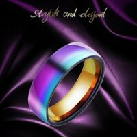 2 X Colorful Rainbow Ring Band Gay Pride Jewelry Wedding Titanium Steel