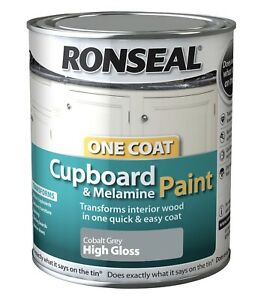 Ronseal One Coat Cupboard Melamine & MDF Paint Cobalt Grey High Gloss 750ml