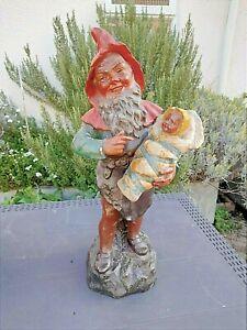 EXTREMELY RARE ORIGINAL J MARESCH GNOME WITH BABY ZWERGE GARTENZWERG