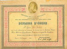 """FM229_Attestato:DIPLOMA D'ONORE """"Compagnia della B.V.ADDOLORATA"""" - Torino 1890"""