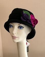 78d3b69bfe6af4 NWT Parkhurst Hampton Gardenia Wool Cloche BLACK with Flowers $35