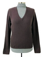 LANDS END Cashmere Pullover Sweater Womens Size S Brown V Neck
