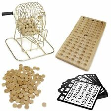 Wooden Deluxe Bingo Game Set Kit Metal Wire Cage Wood Board Balls Cards Markers