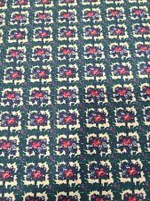 """ESTATE SALE FABRIC 8 yards X 60"""" wide Forest Green with Pink & Blue flowers"""